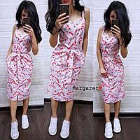 Женское летнее стильное платье х/б  РАЗНЫЕ ЦВЕТА