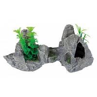 Trixie Скала с растениями - декорация для аквариума 26 cм