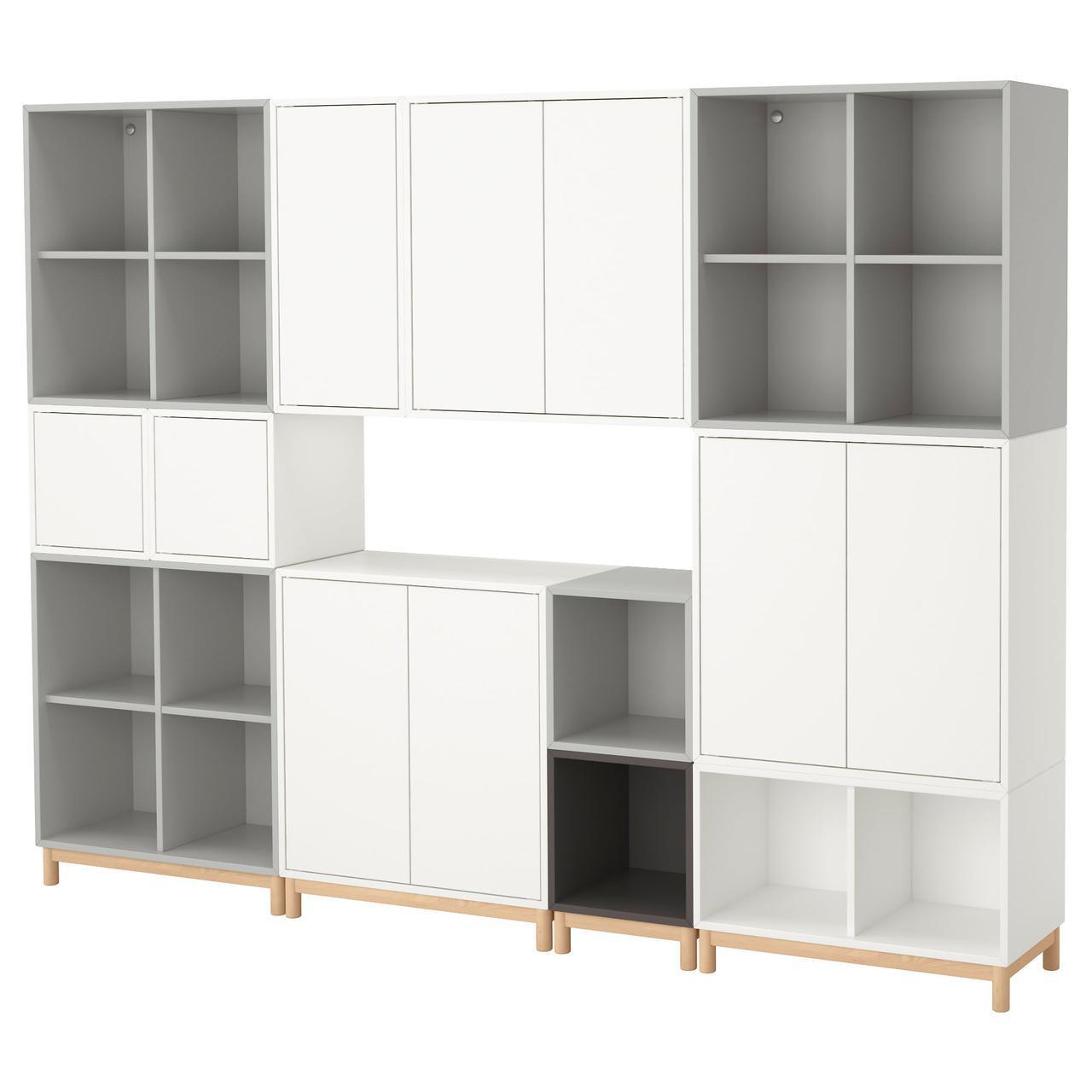 IKEA EKET Стеллаж, белый/светло-серый, темно-серый  (192.210.92)