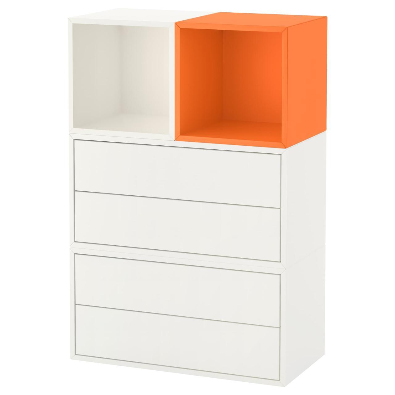 IKEA EKET Настенный стеллаж, белый, оранжевый  (392.210.34)