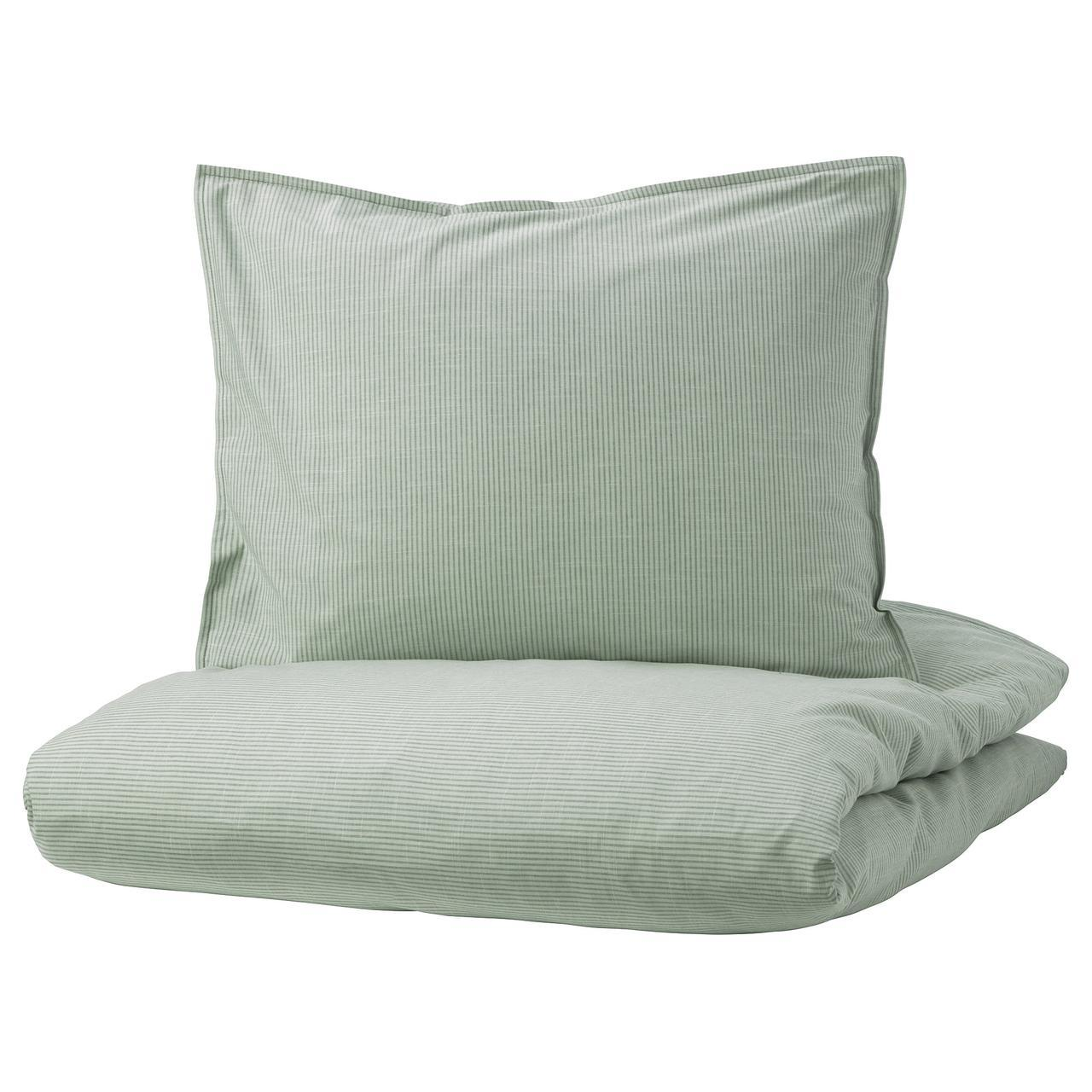 IKEA BERGPALM Комплект постельного белья, зеленый, полосатый  (404.232.05)