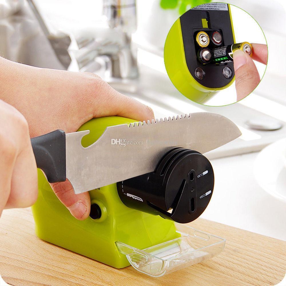Автоматическая электрическая точилка для ножей Swifty Sharp Зеленая (батарейках), Электрическая ножеточка