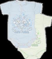 Детский боди-футболка с принтом, на кнопках, хлопок (кулир), ТМ Ромашка, р. 68, 74, 80, 86, Украина, фото 1