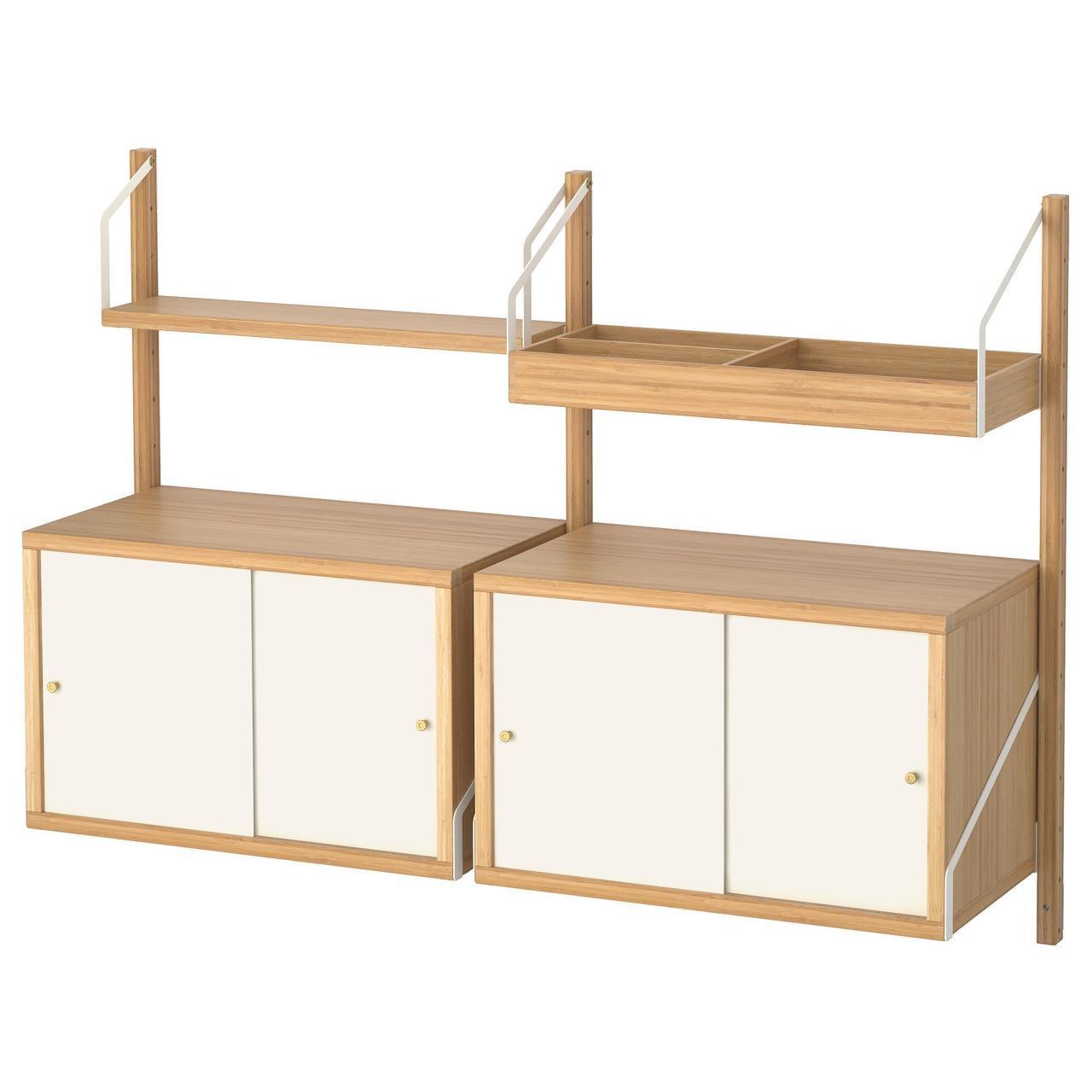 IKEA SVALNAS Настенный стеллаж, бамбук, белый  (491.844.65)