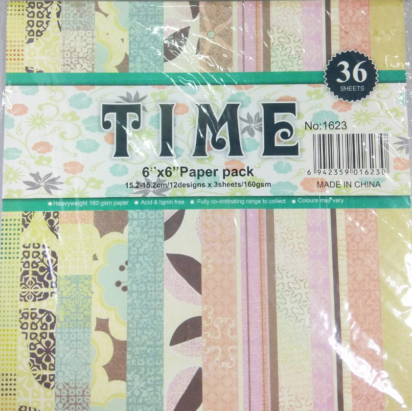 Картон декоративный TIME для скрапбукинга 15,2-15,2см