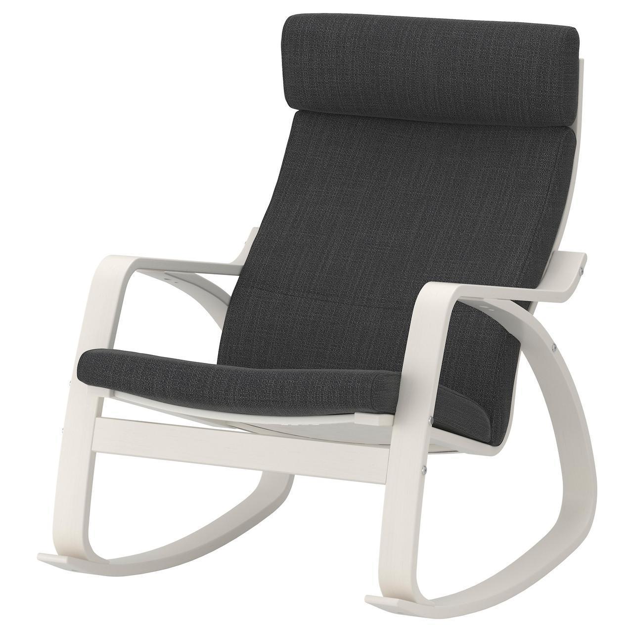 IKEA POANG Кресло-качалка, белый, Hillared антрацит  (692.010.44)