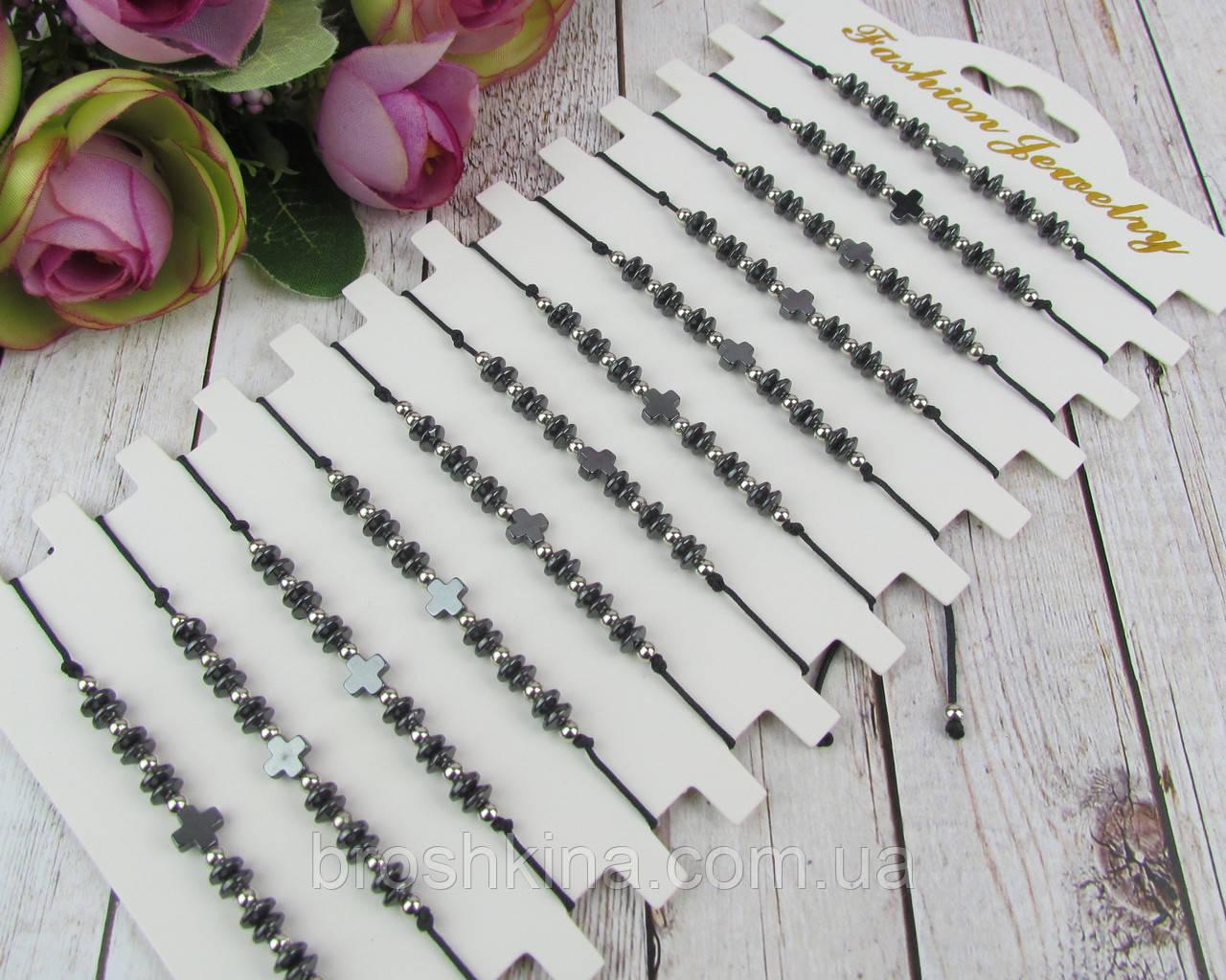Тонкие регулируемые браслеты с гематитом унисекс 12 шт/уп.