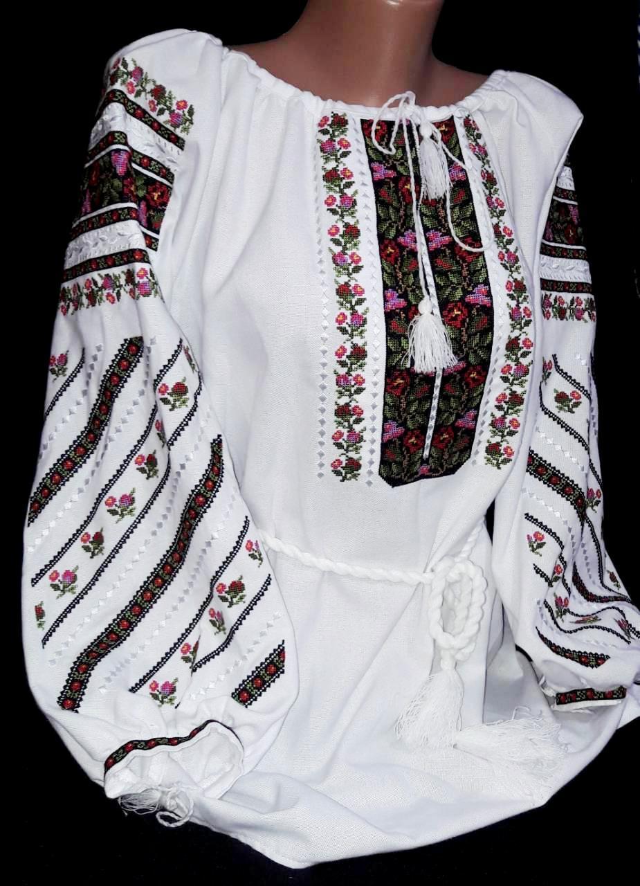 Национальная вышиванка Богуславна на домотканом полотне
