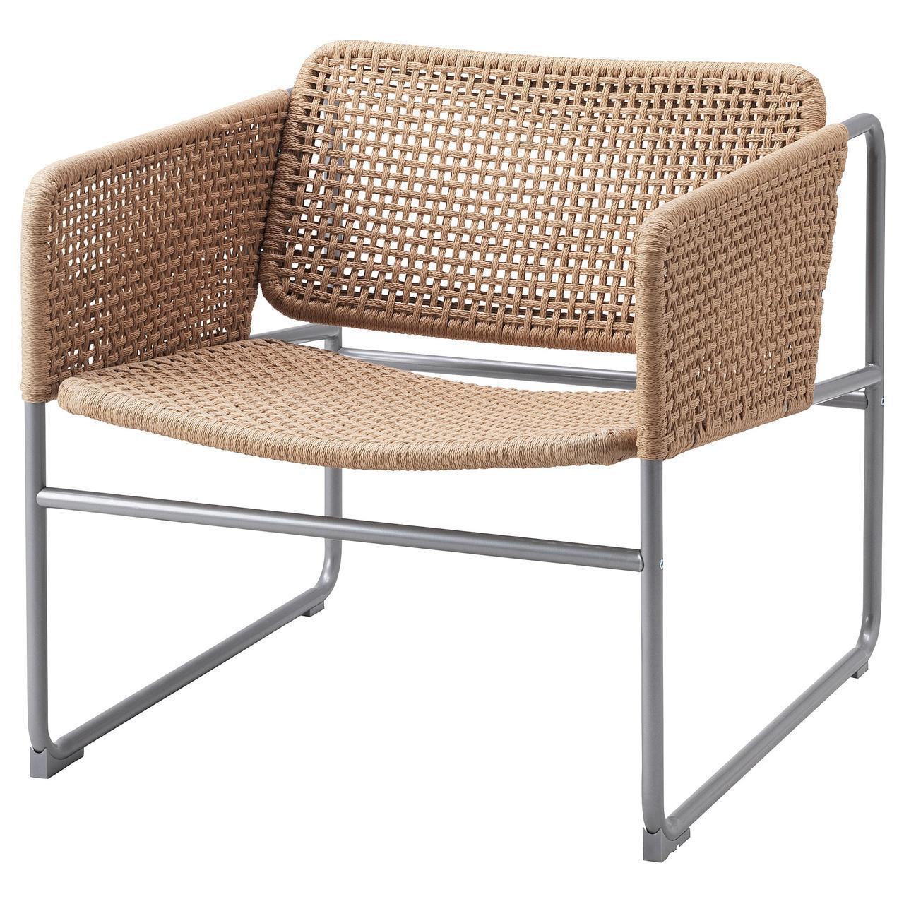 IKEA INDUSTRIELL Кресло, натуральное, серое  (003.926.49)