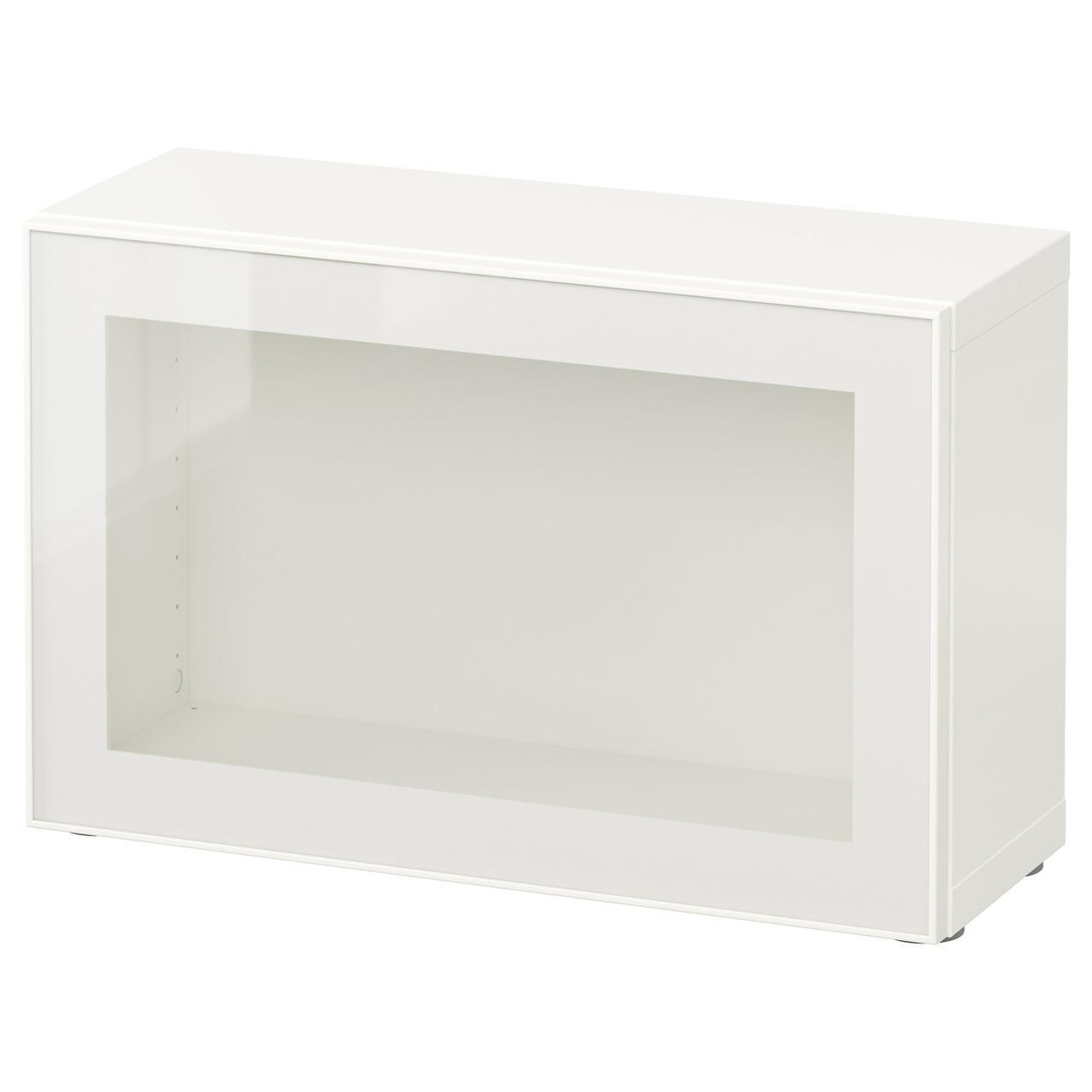 IKEA BESTA Стеллаж с дверями, белый, Глассвик Белое/прозрачное стекло  (290.466.39)