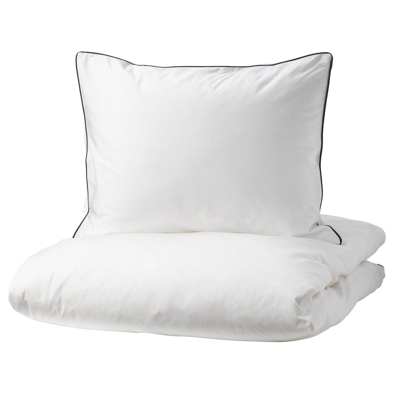 IKEA KUNGSBLOMMA Комплект постельного белья, белый, серый  (004.230.90)