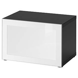 IKEA BESTA/SURTE Стеллаж с дверью LED, черно-коричневый, белый  (891.931.42)
