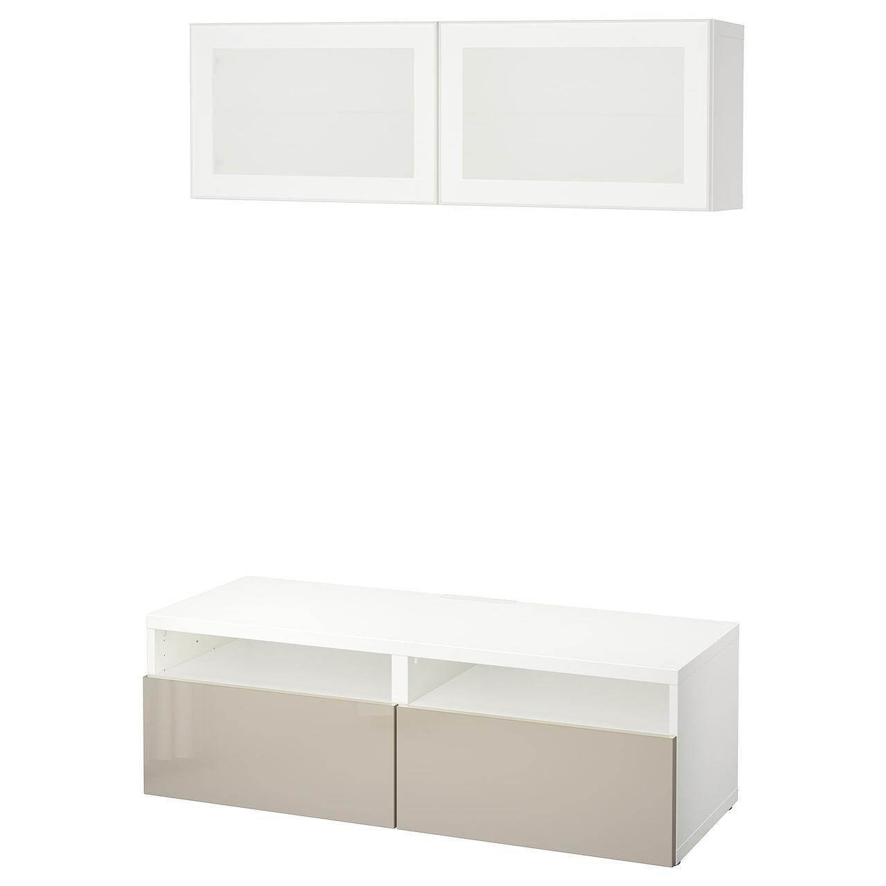 IKEA BESTA Тумба под телевизор с стеклянными дверьми, белый, Сельсвикен (691.894.19)