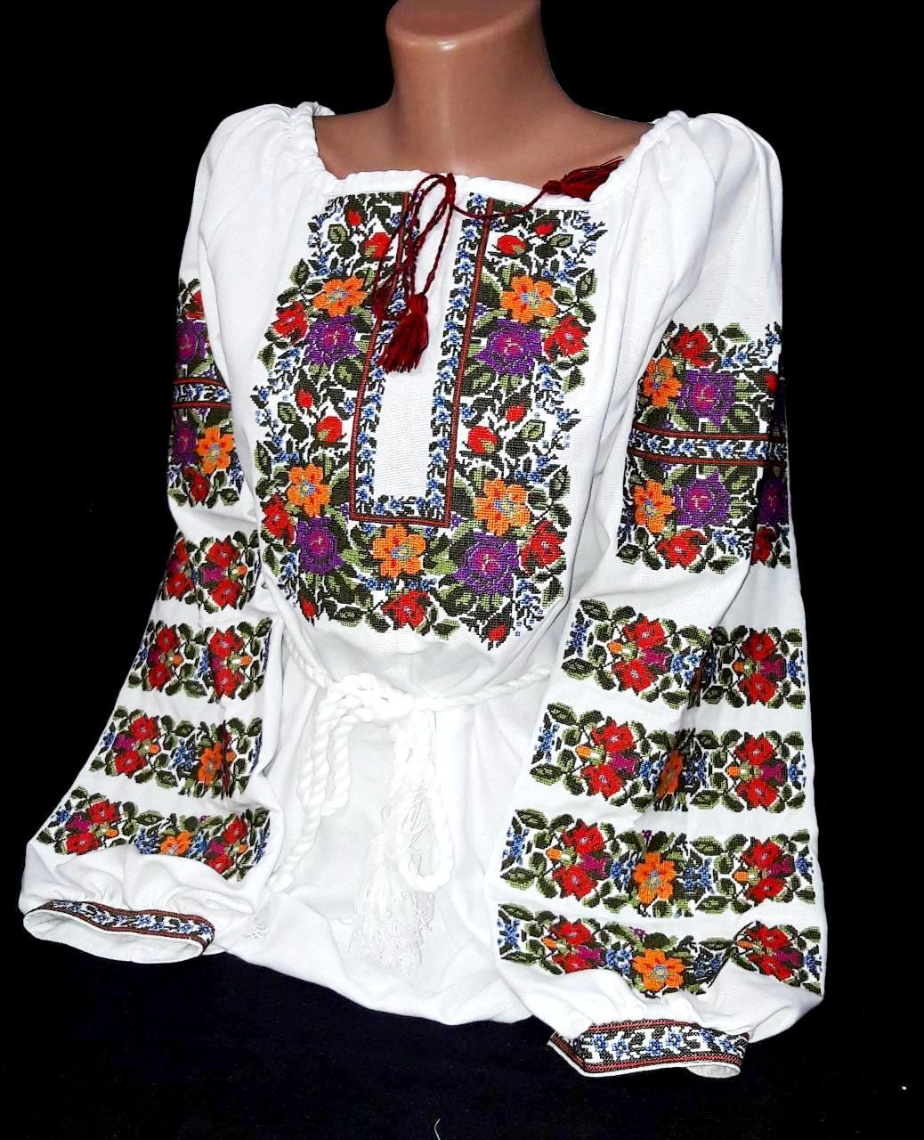 Национальная вышиванка Аринка на домотканом полотне