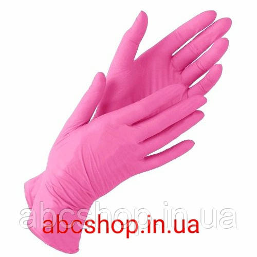 Перчатки нитриловые розовые М (100 шт.)