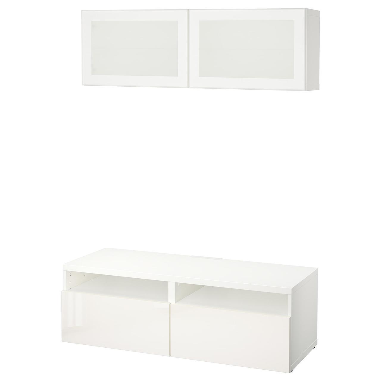 IKEA BESTA Тумба под телевизор с стеклянными дверьми, белый, Сельсвикен (291.893.60)