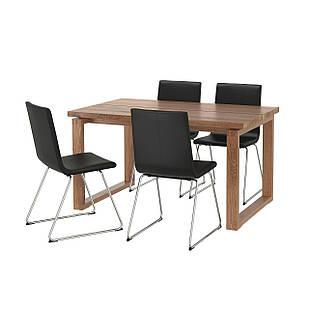 IKEA MORBYLANGA/VOLFGANG Стол и 4 стула, коричневый, Бомстад черный  (692.518.21)