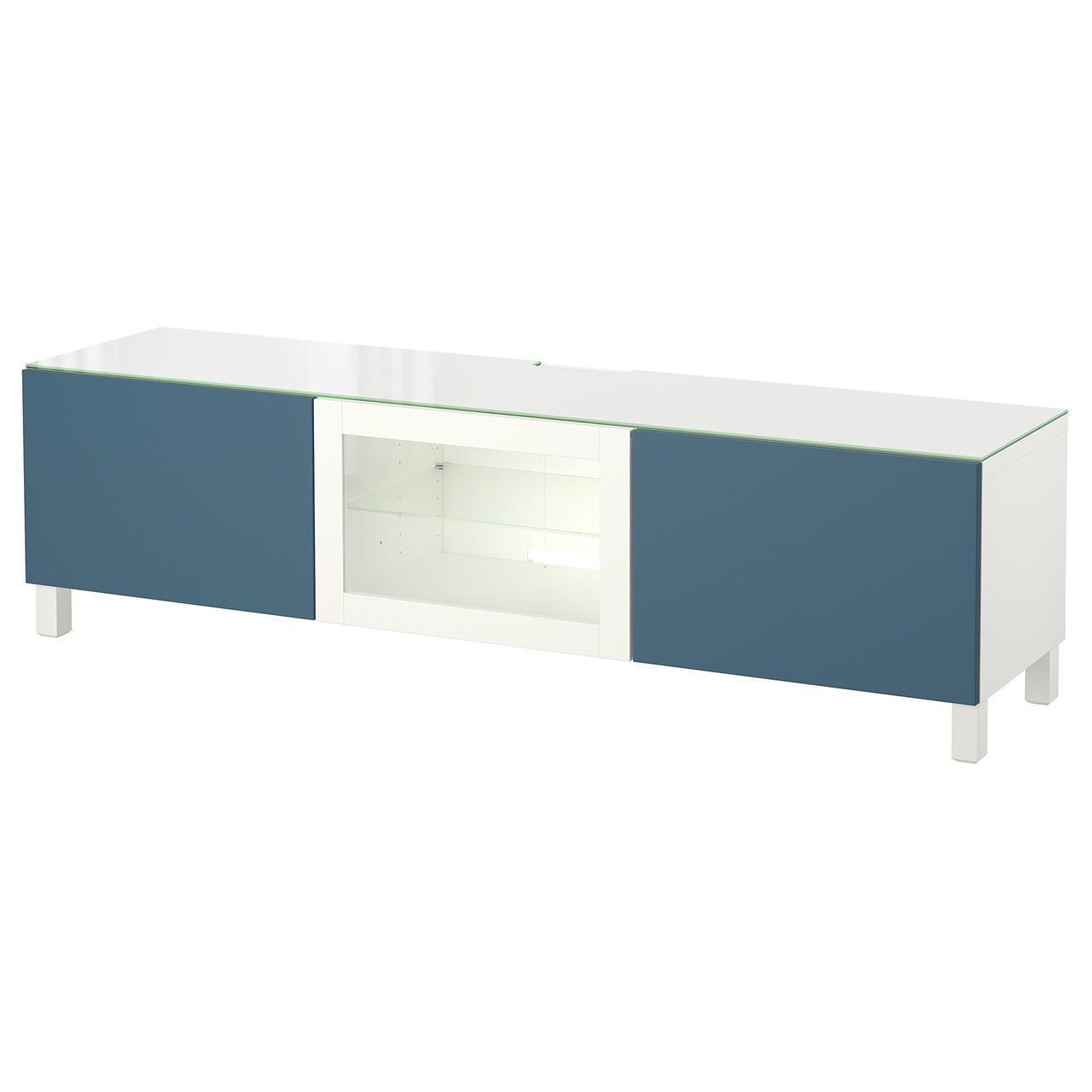 IKEA BESTA Тумба под телевизор с дверцами, белый Вальвикен, темно-синее прозрачное стекло  (292.088.77)