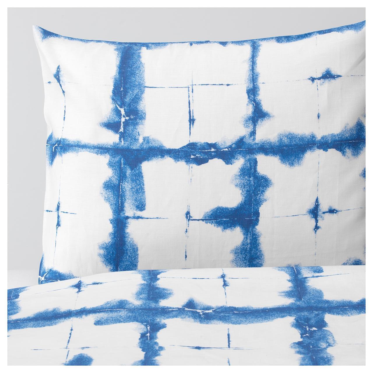 IKEA TANKVARD Комплект постельного белья, решетка синий  (304.347.61)