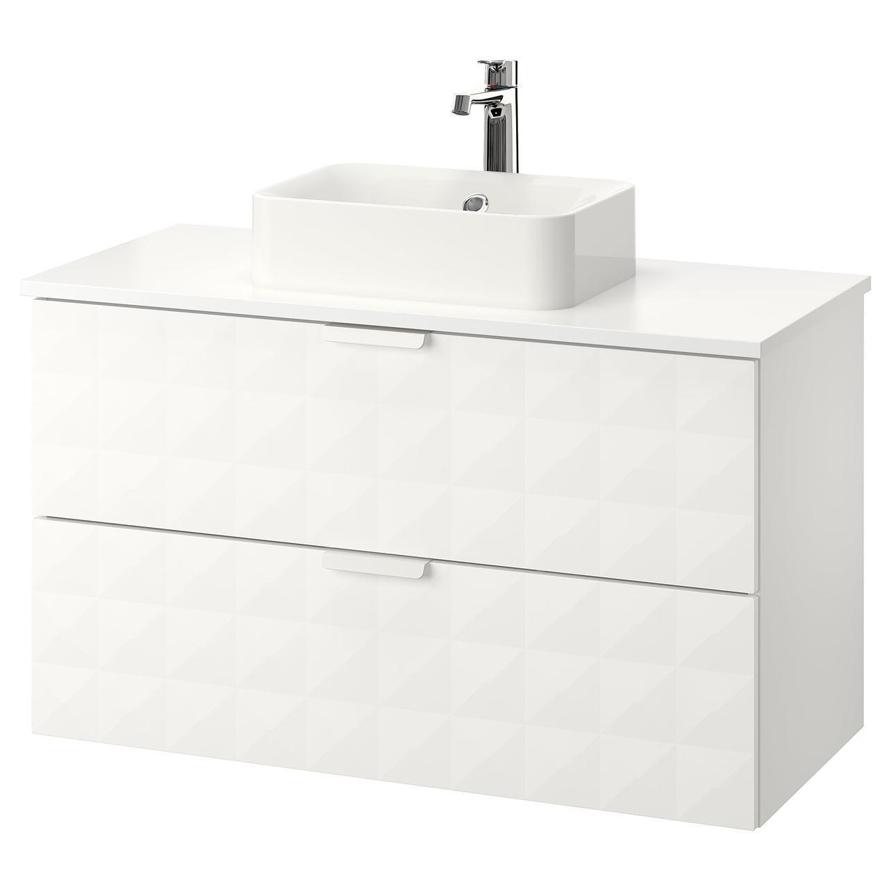 IKEA GODMORGON/TOLKEN/HORVIK Шкаф под умывальник с раковиной, Ресжöн белый, белый  (892.473.76)