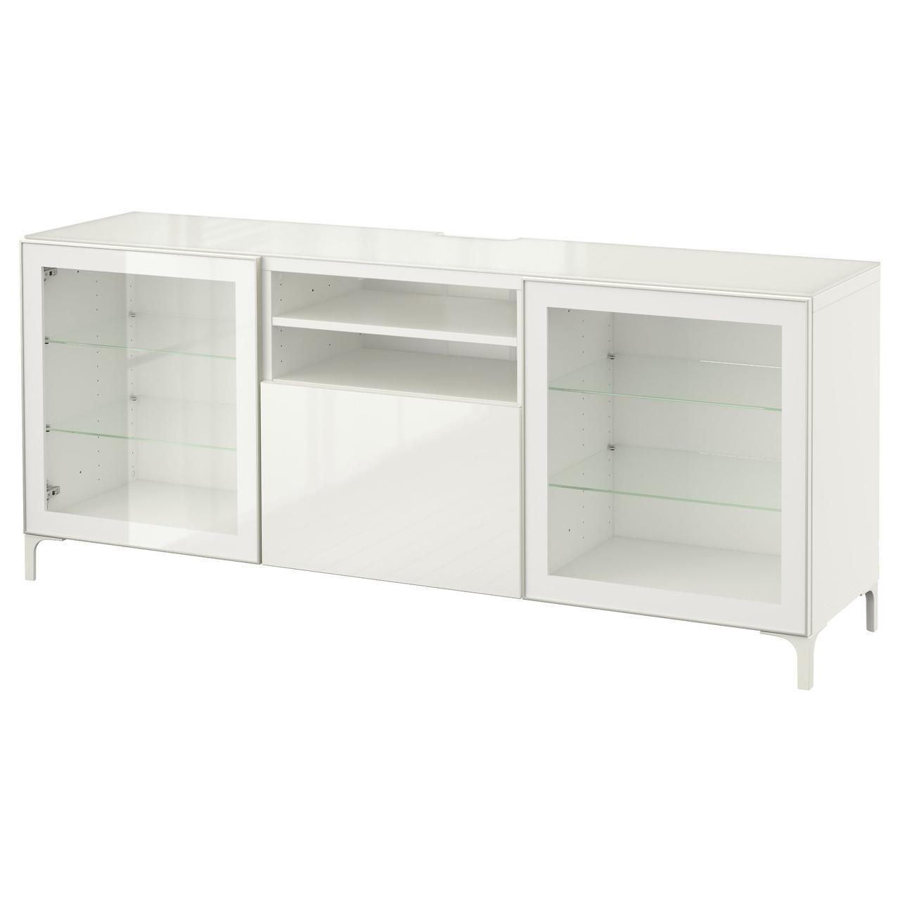IKEA BESTA Тумба под телевизор, белый, Сельсвикен глянцевый/белый прозрачное стекло  (791.968.34)