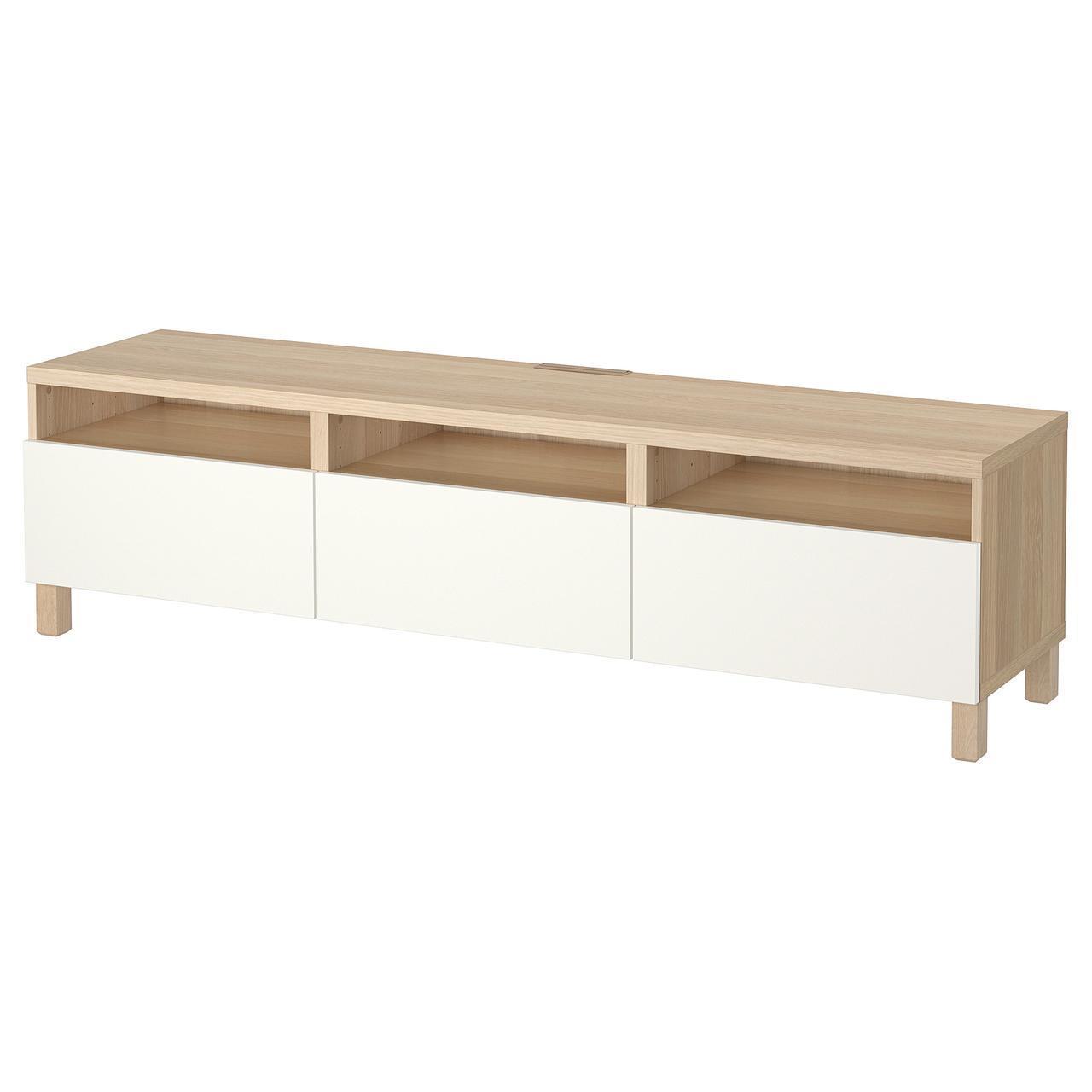IKEA BESTA Тумба под телевизор с ящиками, белый дуб, Лаппвикен белый  (591.930.11)