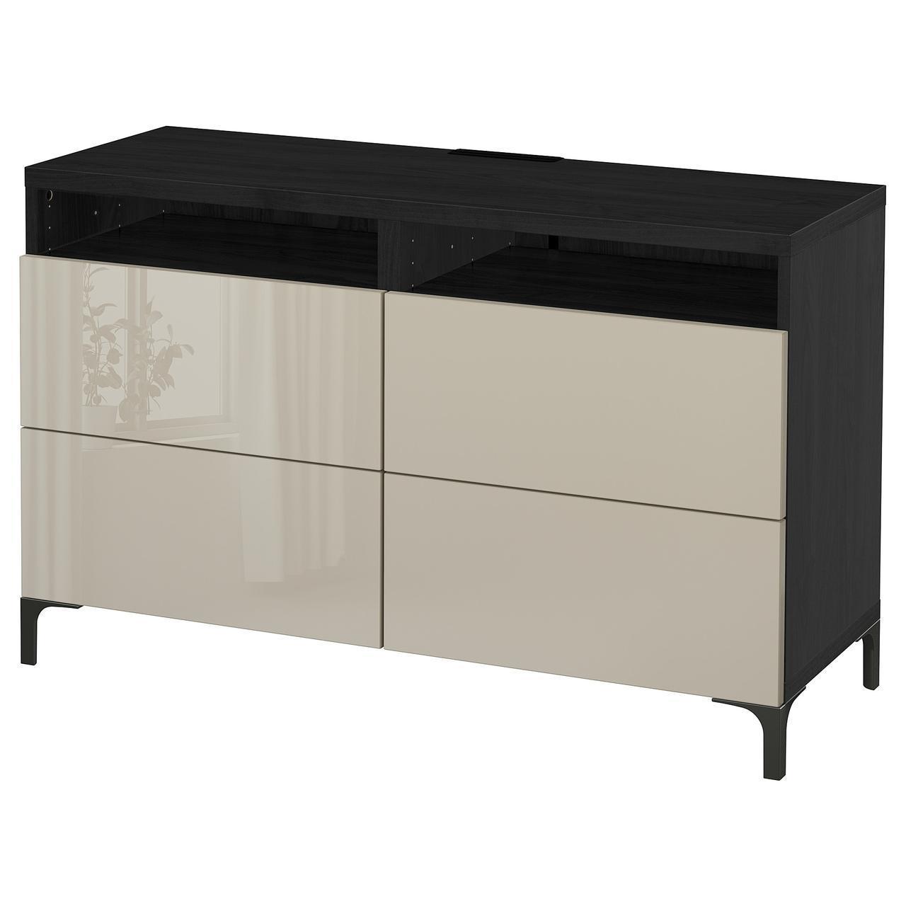 IKEA BESTA Тумба под телевизор с ящиками, черно-коричневый, Сельсвикен (391.938.18)
