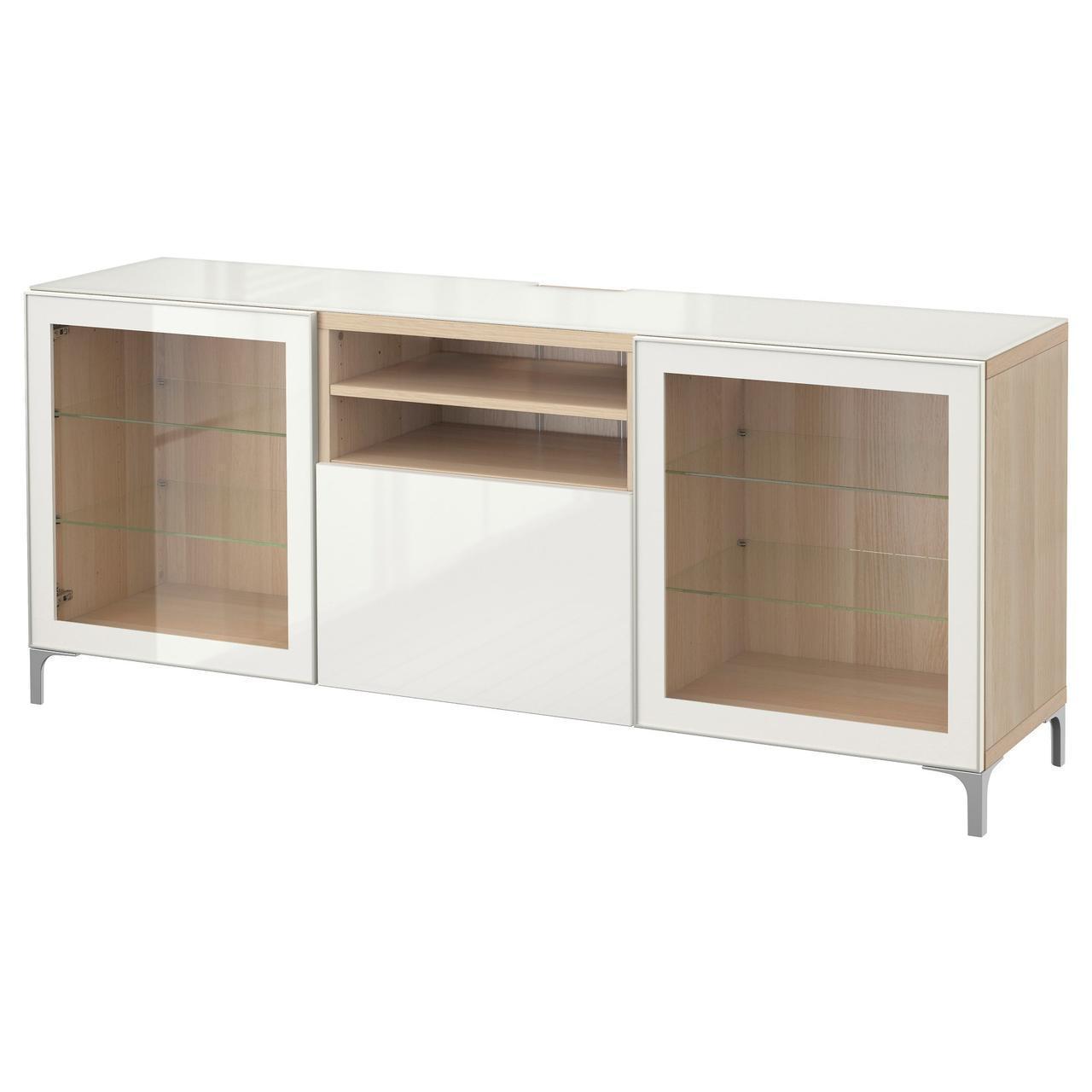 IKEA BESTA Тумба под телевизор, белый стаинедед дуб, Сельсвикен глянцевый/белый (991.968.47)