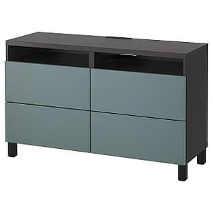 IKEA BESTA Тумба под телевизор с ящиками, черно-коричневый, Вальвикен сзаротуркусови  (891.938.30)
