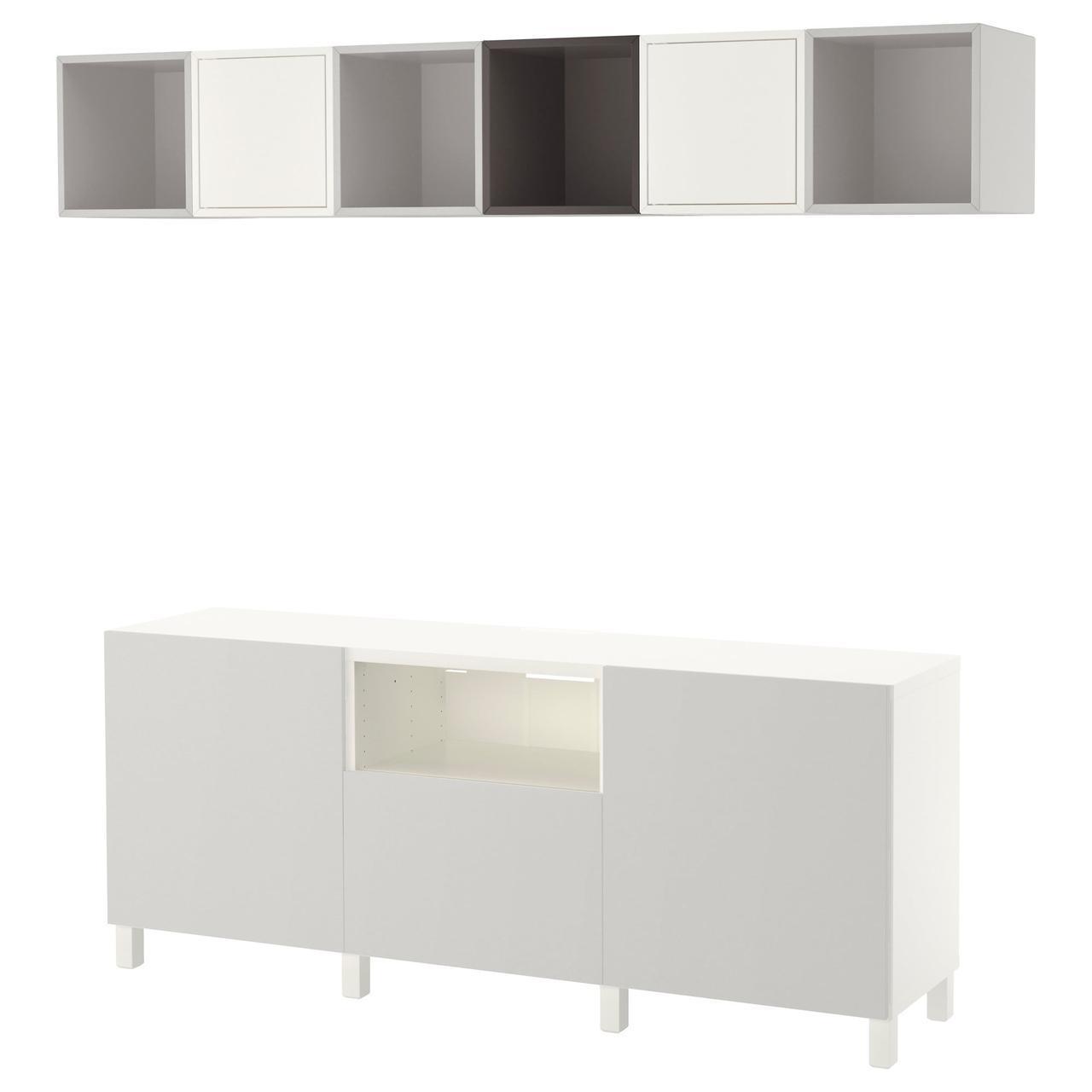 IKEA BESTA/EKET Тумба под телевизор с шкафчиками, белый/темно-серый, светло-серый  (392.211.52)