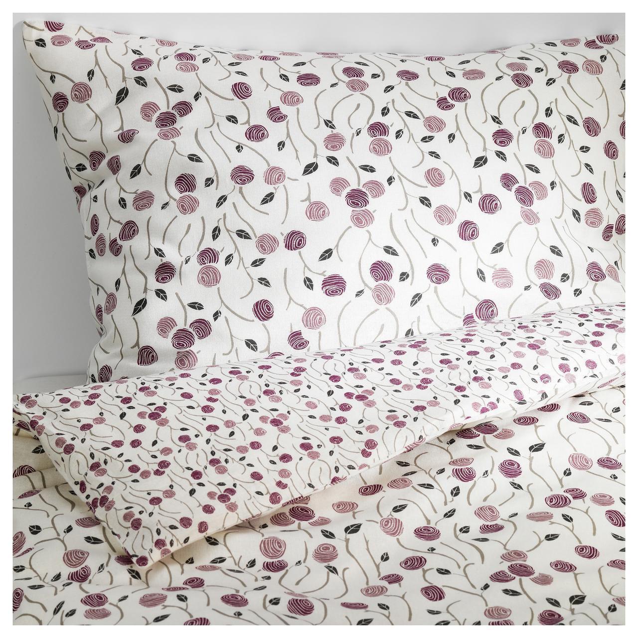 IKEA MAJVIVA Комплект постельного белья, белый, сиреневый  (402.303.82)