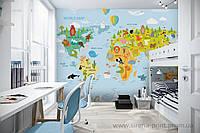 Детские фотообои Карта мира на английском и русском языках