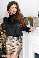 Нарядная юбка-мини в пайетку золотистая
