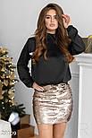 Нарядная юбка-мини в пайетку золотистая, фото 2