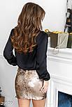Нарядная юбка-мини в пайетку золотистая, фото 4