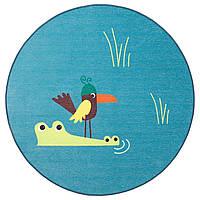 IKEA DJUNGELSKOG Ковер безворсовый, птица, синий (203.937.61)