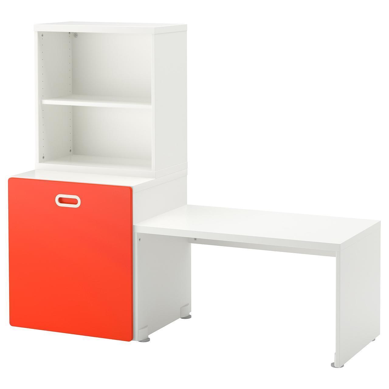 IKEA STUVA/FRITIDS Стол с ящиком для игрушек, белый, красный  (692.796.22)