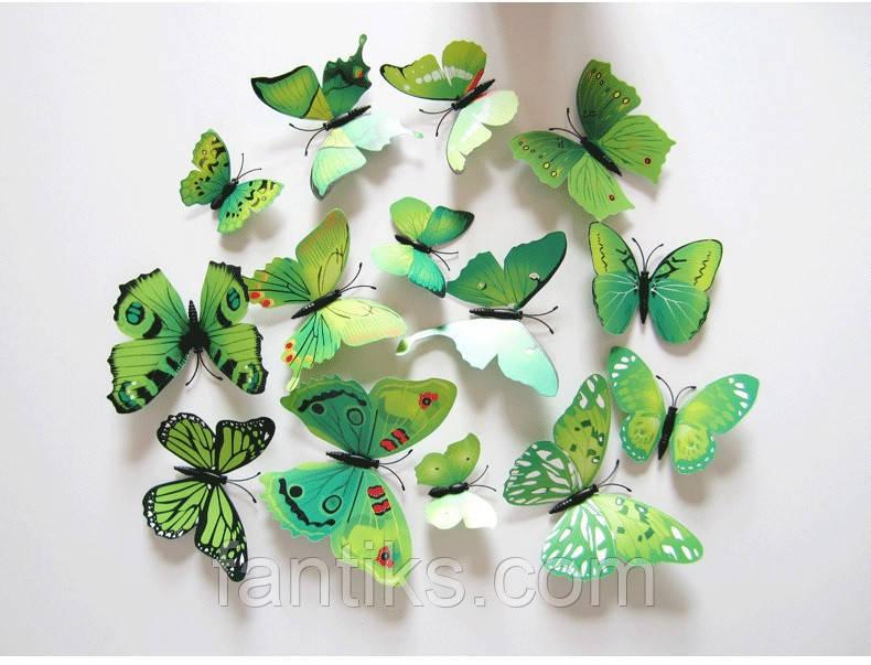 Интерьерные бабочки 3Д (зеленые) - ФАНТИК в Харькове