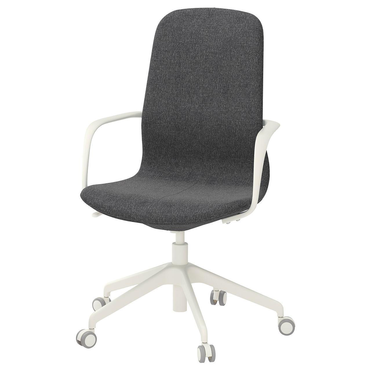 IKEA LANGFJALL Рабочий стул, темно-серый, белый  (292.528.65)