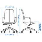 IKEA LANGFJALL Рабочий стул, темно-серый, белый  (292.528.65), фото 8