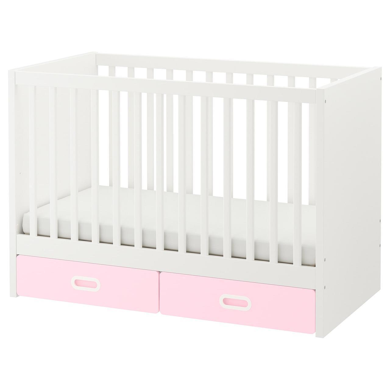 IKEA STUVA/FRITIDS Детская кроватка с ящиками, светло-розовый  (792.672.80)