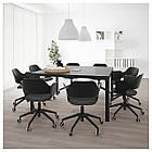 IKEA BEKANT Стол для конференций, черный окрашенный ясень шпон, черный  (092.825.71), фото 3