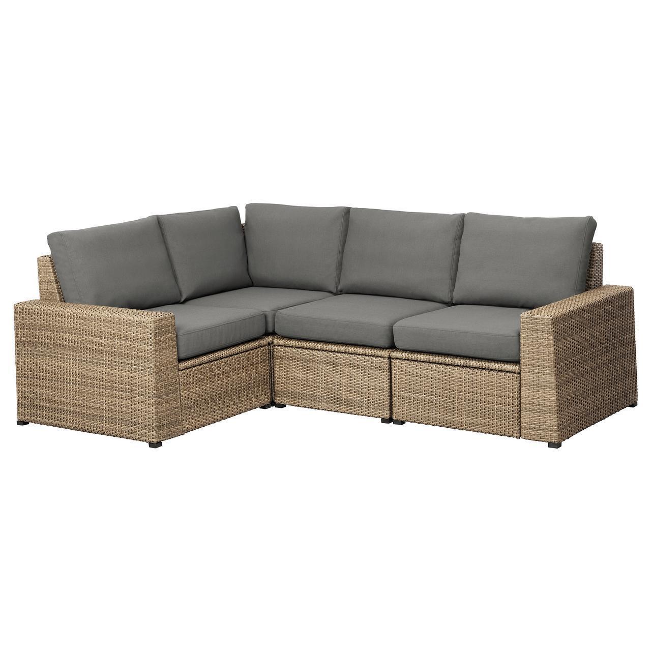 IKEA SOLLERON 3-местный модульный угловой садовый диван, коричневый, Фрезен/дувхолмен (592.526.56)