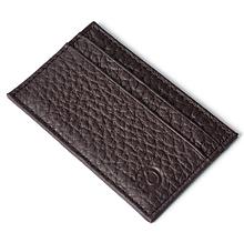 Кожаный картхолдер на 4 карты мини темно-коричневый