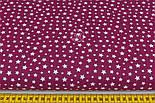"""Лоскут ткани """"Густая насыпь из звёзд разных размеров"""" белая на бордовом №2110а, размер 46*80 см, фото 3"""