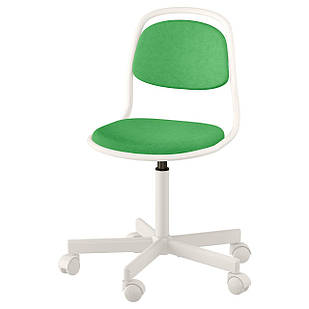 IKEA ORFJALL Детский рабочий стул, белый, виссле ярко-зеленый  (603.208.24)