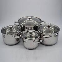 Набор кастрюль кухонных Benson BN-206 8 предметов в наборе нержавеющая сталь