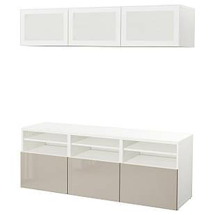 IKEA BESTA Тумба под телевизор с стеклянными дверьми, белый, Сельсвикен (291.945.83)