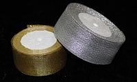 Лента парча 6см золото и серебро
