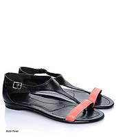 Черные стильные модные летние женские лаковые кожаные босоножки с цветной полоской и закрытой пяткой. Арт-3344